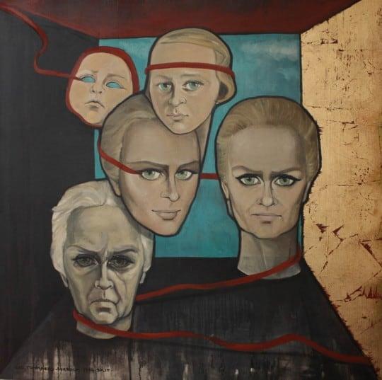 """Autoportrait """"Red line"""" - Oil on canvas - 1994 (c) Cici"""