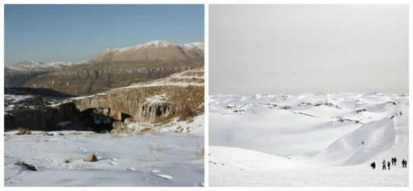 Left: Natural bridge (c) Srsck, Right: Faraya (c) M. Nairooz