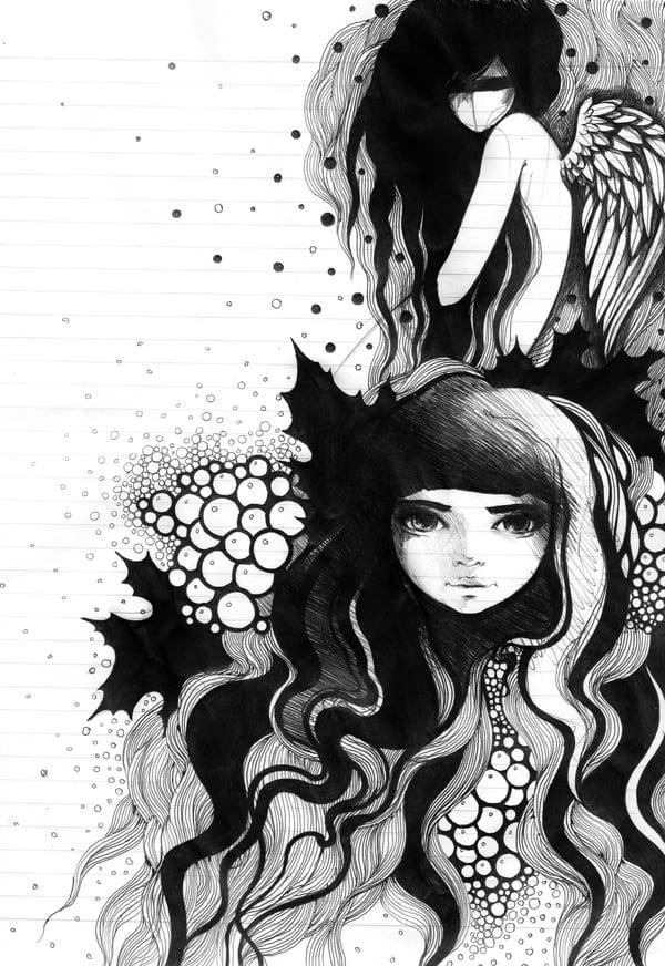 Looking into the sketchbook (c) Lesya Nedzelskaya