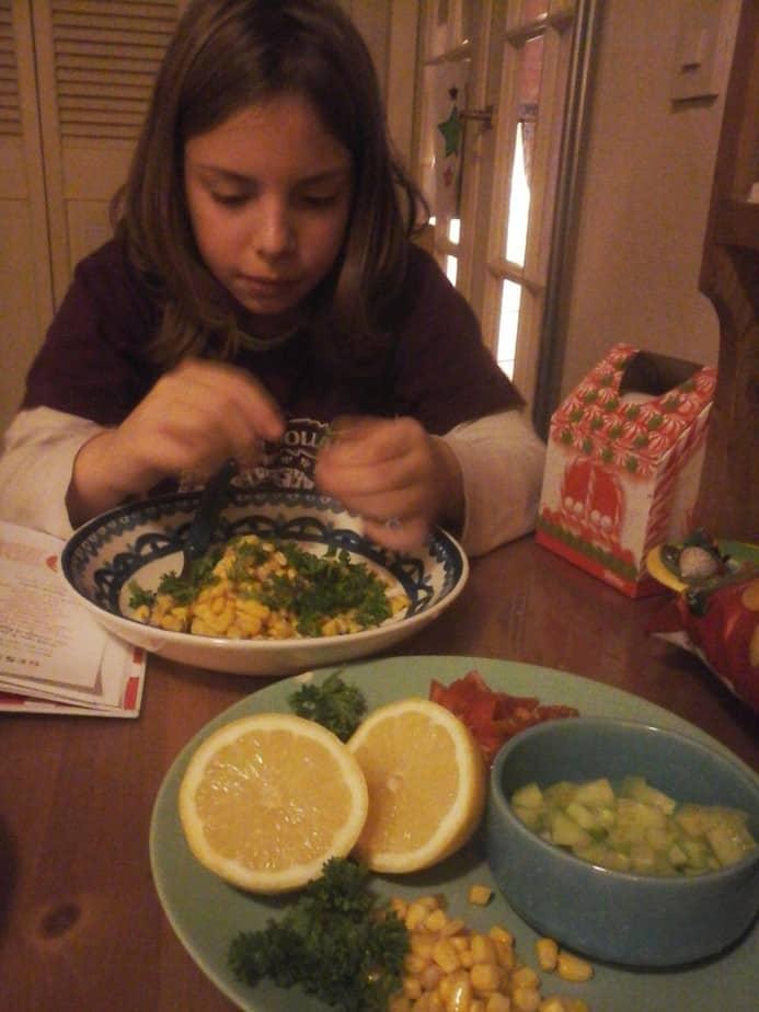 Zoonlief maakt rijstsalade