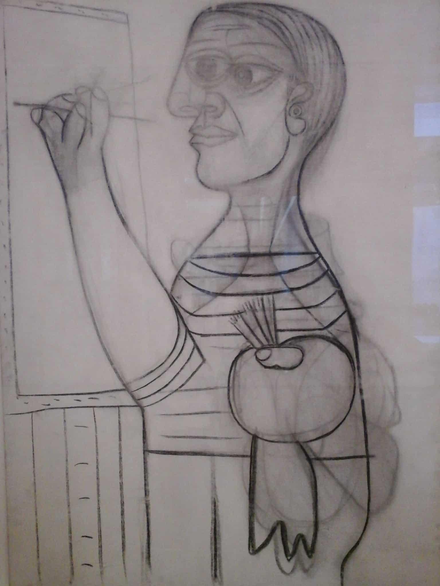 Favoriet in het Picasso museum: L'artiste devant sa toile uit 1938