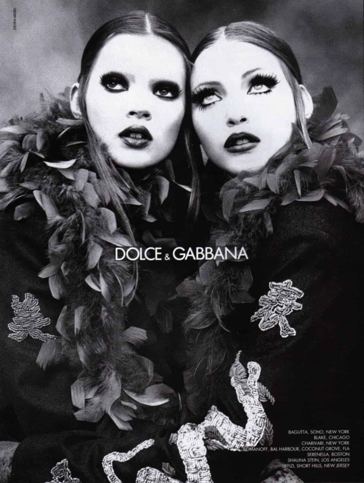 Met Nadja Auermann voor Dolce & Gabbana in 1992