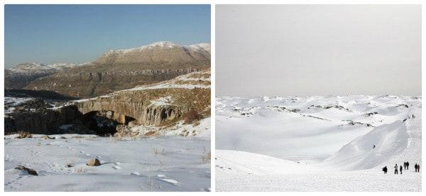 Left: Natural bridge (c) Srsck, Right: Faraya (c) M. Nairooz