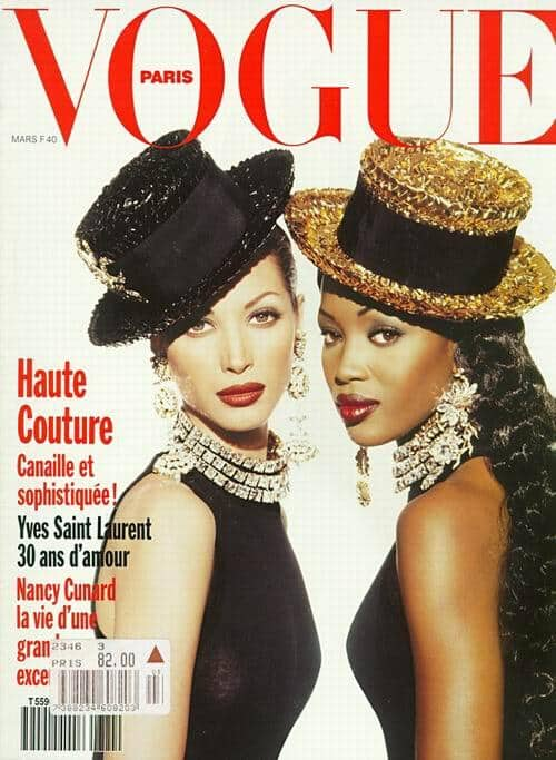 "Met ""collega"" supermodel Christy Turlington (c) voor Vogue, 1992"