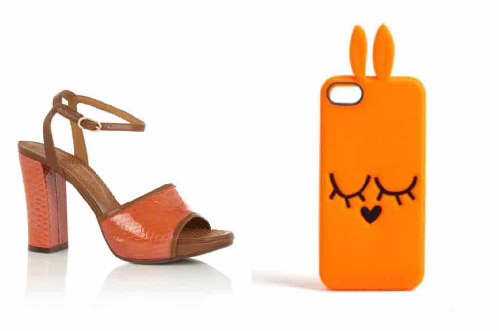 Sandaal van Chie Mihara via de Bijenkorf, telefoonhoes van Marc by Marc Jacobs via Net-a-porter
