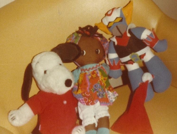Mijn knuffels: Goldorak, Snoopy en een of ander poppetje
