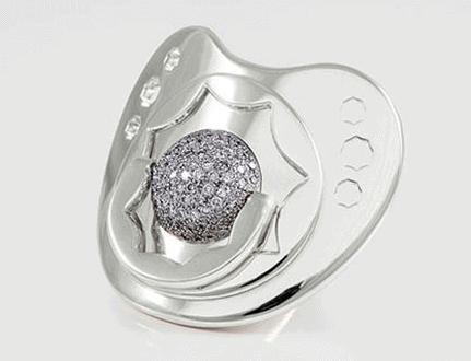 Speen van wit goud met diamanten, niet voor gebruik maar als sieraad