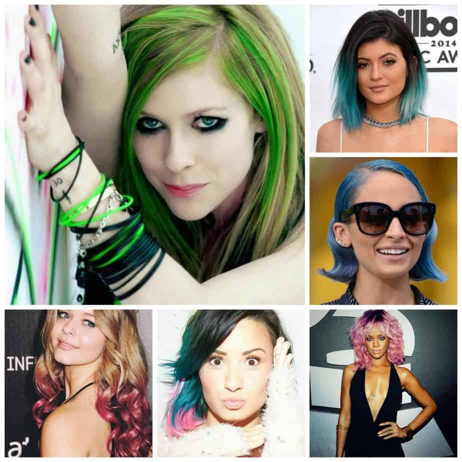 Met de klok mee: Avril Lavigne, Kylie Jenner, Nicole Richie, Rihanna, Demi Lovato, Sasha Pieterse