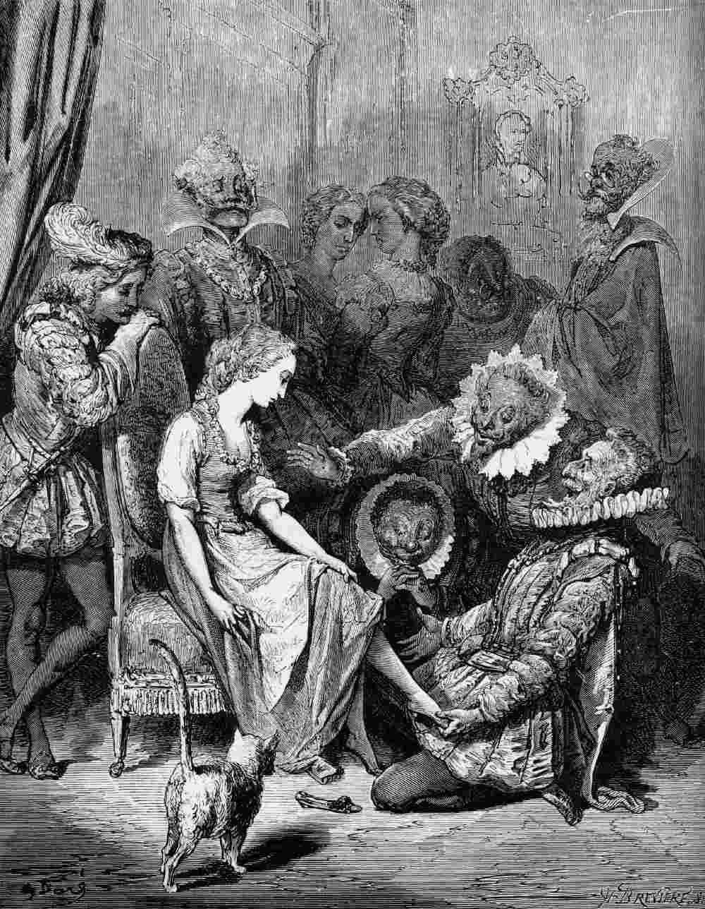 Oude illustratie van Gustave Dore bij het verhaal van Perrault