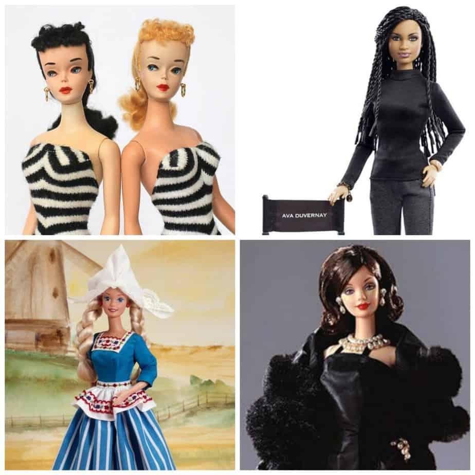 Met de klok mee: Vintage Barbies uit 1959-1960, Ava Duvernay Barbie uit 2015, 'Dutch' Barbie uit 1994, Givenchy Barbie uit 2000.