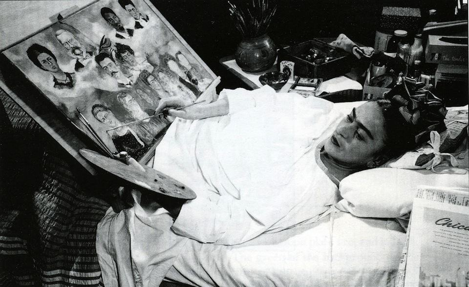 Frida Kahlo in bed