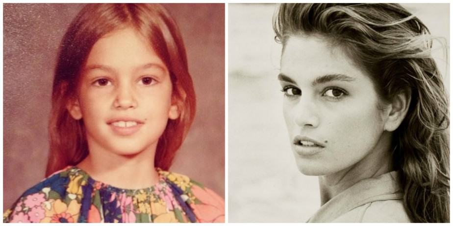Cindy Crawford: Rechts in haar modellenjaren, links in d'r kinderjaren