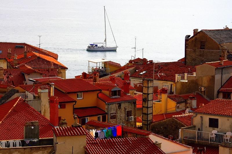 Piran kust Slovenië